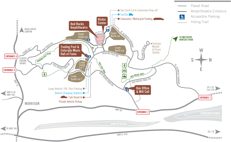 Red Rocks Map Getting Here   Welcome to Red Rocks | RedRocks.co